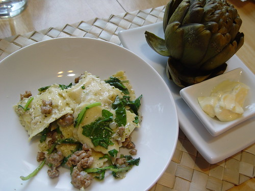 Ravioli with sausage and arugula.