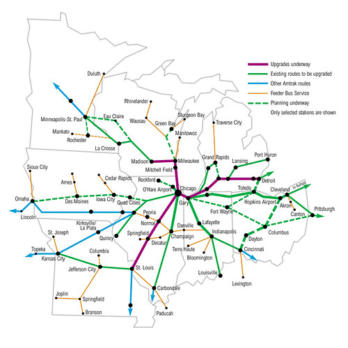 Midwest High Speed Rail Network Map (via the.urbanophile)