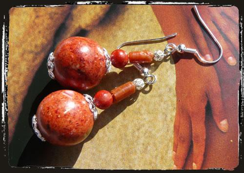 Orecchini corallo rosso - Red coral earrings MEHCPCO