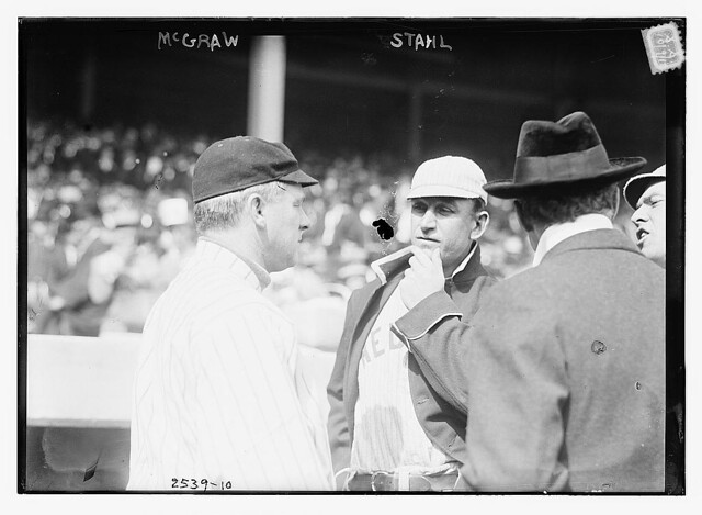 [John McGraw (New York NL) at left, speaking to Jake Stahl (Boston AL) prior to a game of the 1912 World Series at the Polo Grounds, NY, October 1912 (baseball)] (LOC)