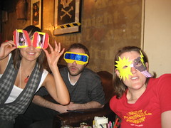 Bella, Paul, Carmen with their fabulous creations at Craft Night, Notting Hill Arts Club, July 7, 2008