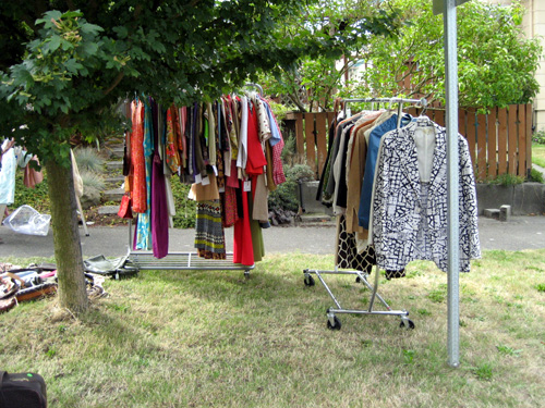 Overpriced yard sale clothes
