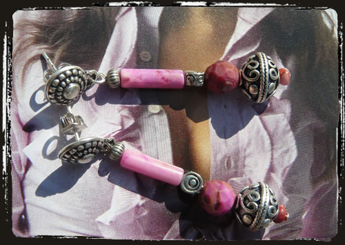 Orecchini rosa - Pink handmade earrings MEHGLCL