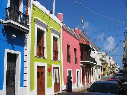 Bright houses in Calle San Sebastian, Old San Juan