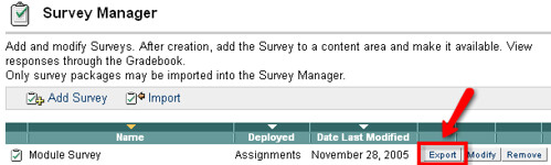 export survey from module manager