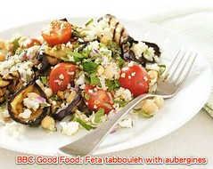 Feta tabbouleh with aubergines recipe - BBC Good Food