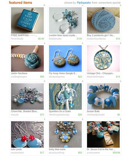 Blues Treasury - Vintage Chic Round Glass Pendant Featured - $15