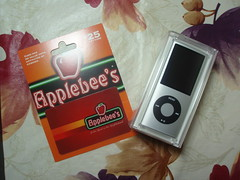 Applebee's Gift card and iPod Nano 4G silver