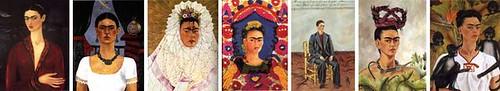 Autoretrato con traje de terciopelo, 1926. Autorretrato o El tiempo vuela 1929. Autorretrato como Tehuana o Diego en mi pensamiento, o Pensando en Diego, 1933. Autorretrato The Frame, 1938. Autorretrato con pelo cortado, 1940. Autorretrato con trenza, 1941. Autorretrato con monos, 1943.