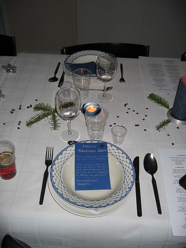 Table decorated for New Year's dinner 2004