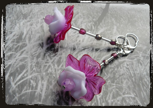 Orecchini fiore lucite - Lucite flowers earrings MEHDLUF