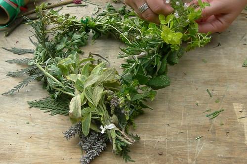 Herb Wreath in Progress