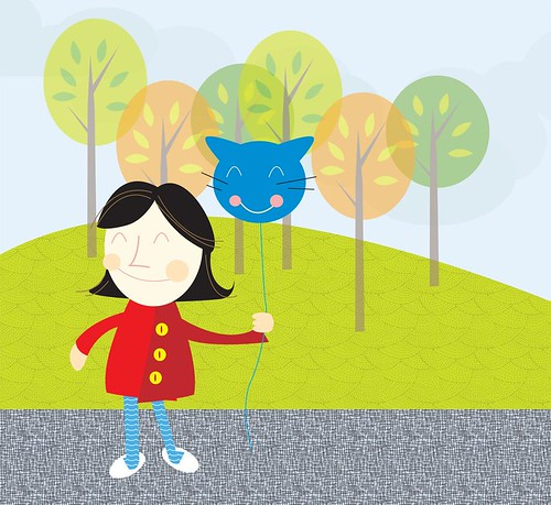 girl and cat balloon