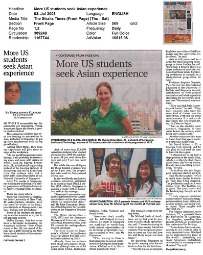 More US students seek Asian experience (The Straits Times, 3rd July 2008)