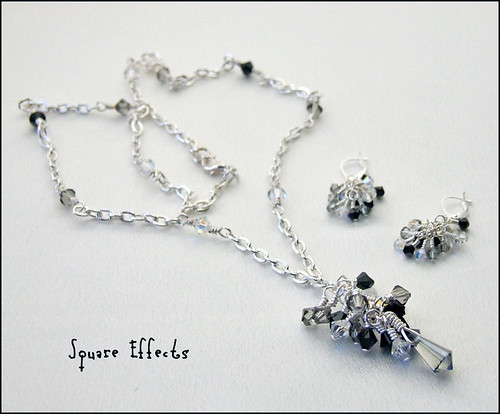 Swarovski crystal large cluster necklace and earrings