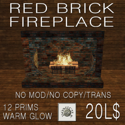 Domicile Red Brick Fireplace