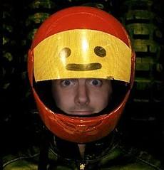 tim in lego motorcycle helmet