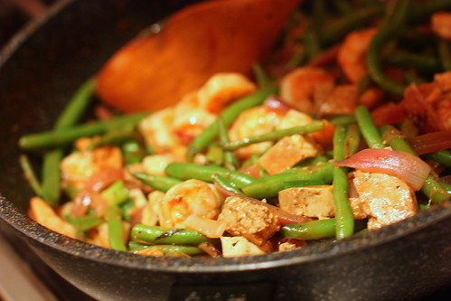 Shrimp and Smoked Tofu with Green Beans in Penang Curry by you.