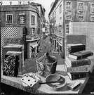 M. C. Escher. Sitll Life and Street. 1937.
