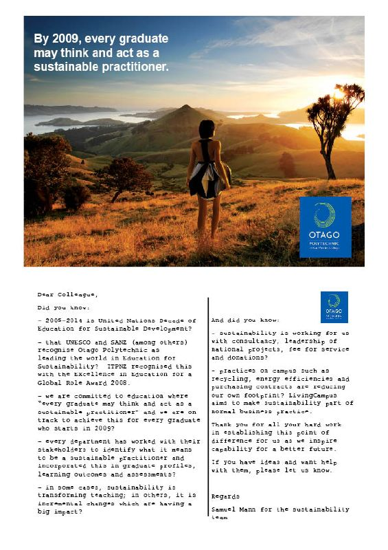 Otago Polytechnic internal marketing for sustainability