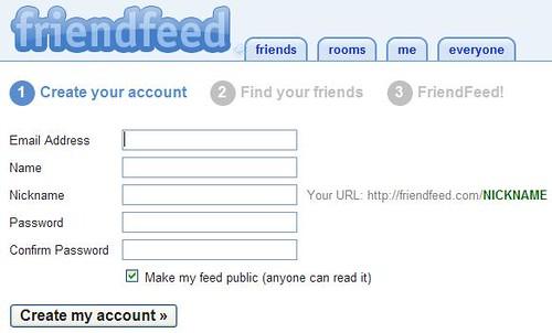 Friendfeed - Create Account