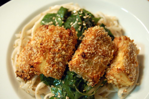 Panko peanut tofu and udon noodles with swiss chard
