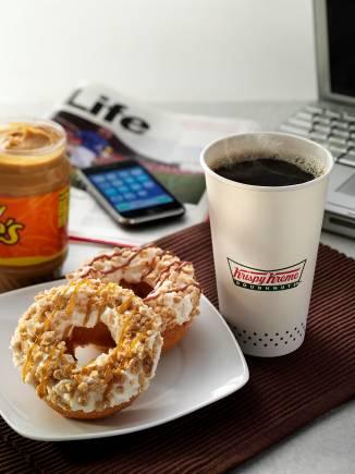 Krispy Kreme's Classic Peanut Butter and Stripes doughnut
