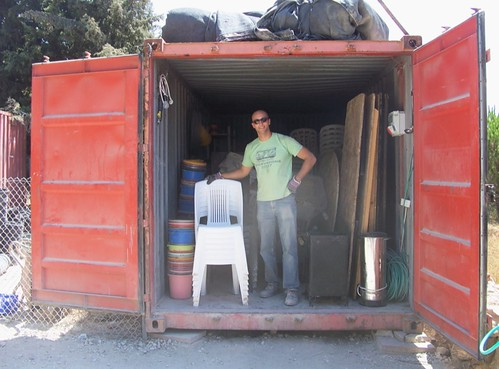 Carsten, the equipment supervisor, showing off his container