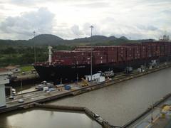 Cargo ship in channel