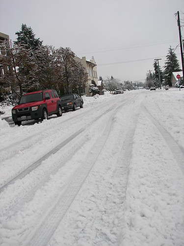 Looking down the street in front of our building.