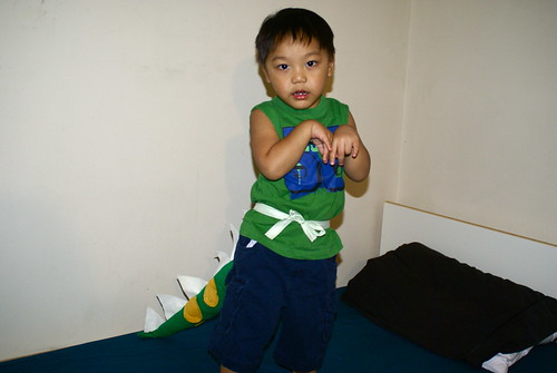 Aaron playing dinosaur