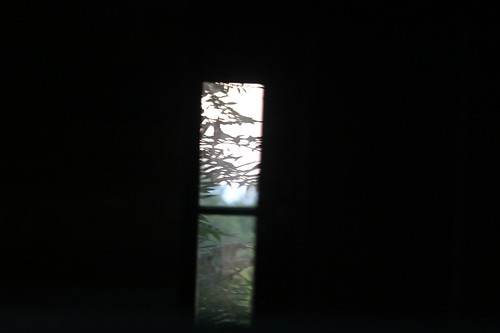 through the barn at sunset