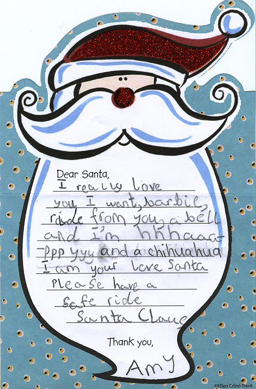 Amy's letter to Santa 2008