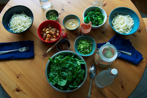 table setting for noodles with peanut sauce
