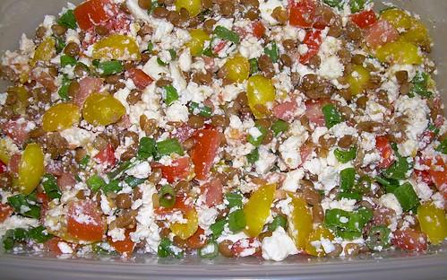 Lentil Feta Yellow Tomato Salad