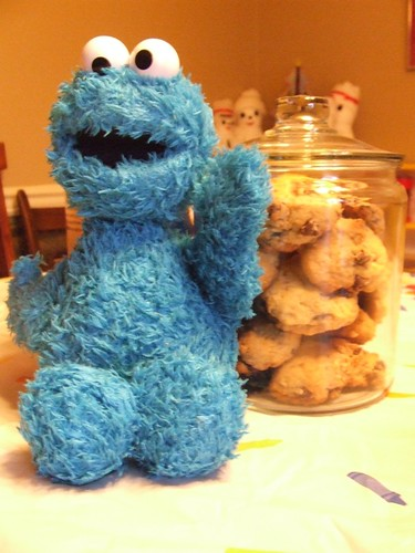 cookie monster and his jar of cookies