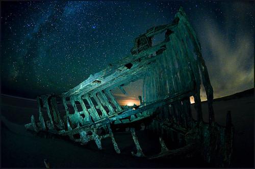 Astoria Night Shoot • Peter Iredale drifting below the stars