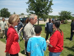 President Bush Visits a Red Cross Shelter
