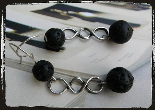 Orecchini neri lava - Lava rock black earrrings MEHHPLN