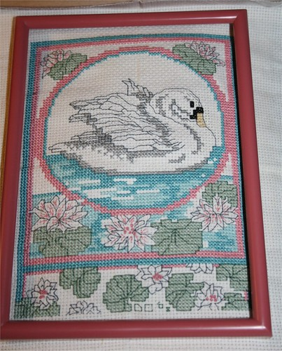 Swan and Waterlilies Cross stitched piece
