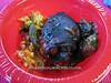 Chicken, jollof rice, and spinach stew