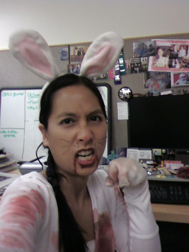 Killer rabbit says happy halloween!