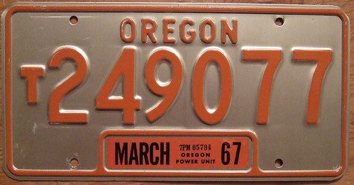 OREGON 1967 POWER UNIT plate