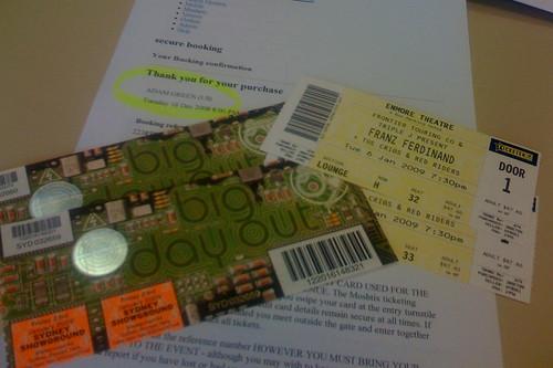 Las entradas de los conciertos que tenemos comprados para el futuro