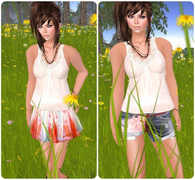 {mon tissu} Shorts and Gauzy Skirt