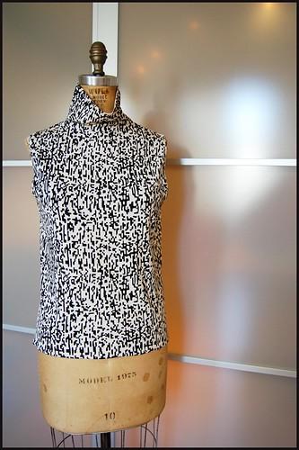 thrifted pixelated sleeveless turtleneck top