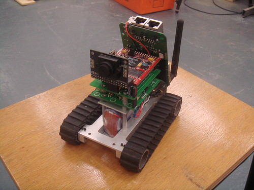 The relaybot, with the camera visible mounted on the front