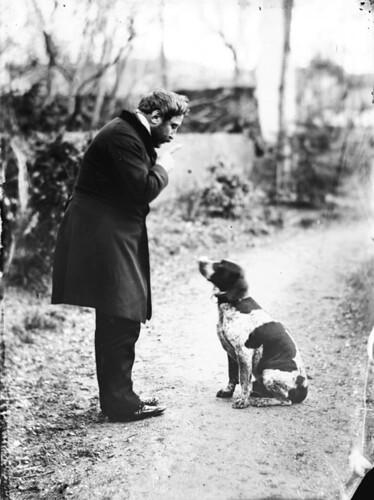 Mein Onkel und sein Hund, 1859, von Eugène Trutat, public domain/gemeinfrei weil das Urheberrecht abgelaufen ist.