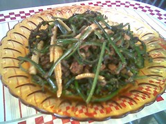 STP's fried paku with sambal hay bee
