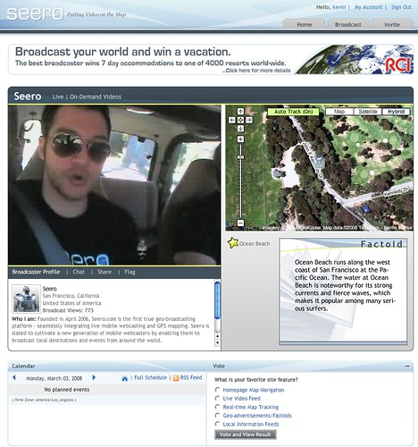 Seero: Live videocasting with GPS tracking